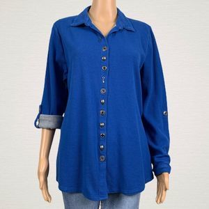 Soft Surroundings Blue Thermal Sydney Shirt Top